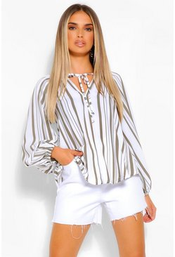 Khaki Striped Linen Balloon Sleeve Top