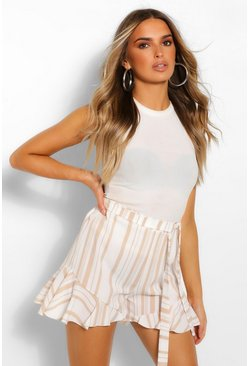 Stone beige Striped Linen Ruffle Hem Shorts