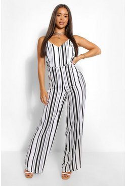 Black Striped Linen Wide Leg Jumpsuit
