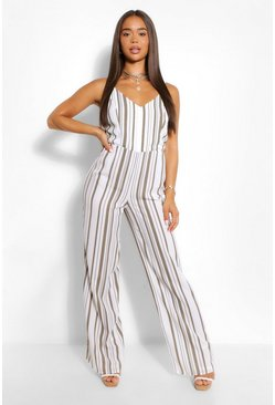 Khaki Striped Linen Wide Leg Jumpsuit