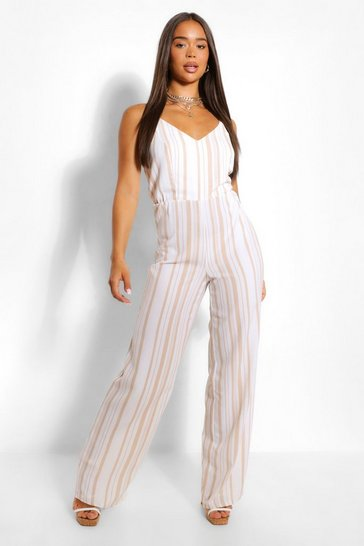 Stone Striped Linen Wide Leg Jumpsuit