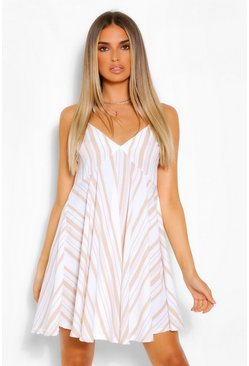 Stone beige Striped Linen Strappy Swing Dress