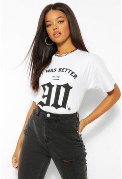 "White vit ""It Was Better In The 90's"" T-shirt med grafiskt tryck"