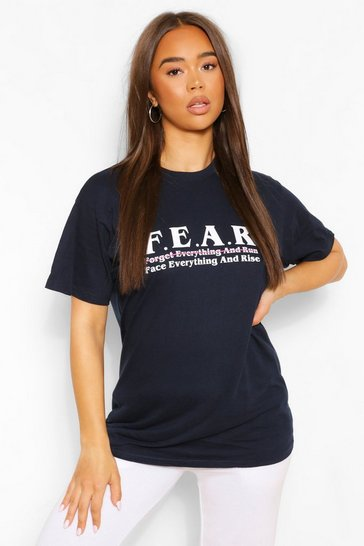 Navy F.E.A.R Graphic T-Shirt