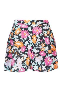 Black Floral Flippy Shorts