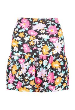 Black Floral Flippy Hem Skirt