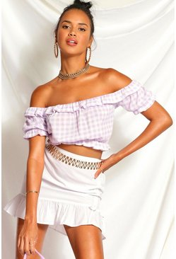 Lilac purple Gingham Puff Sleeve Crop