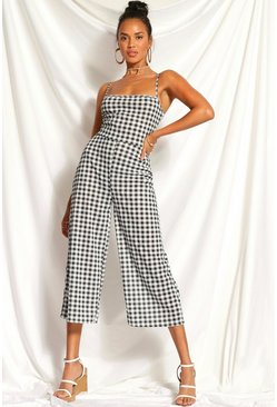 Black Gingham Square Neck Culotte Jumpsuit