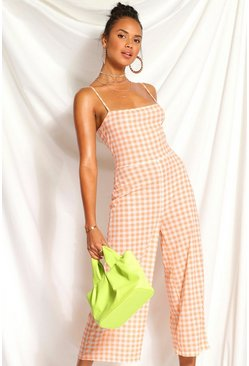 Peach orange Gingham Square Neck Culotte Jumpsuit