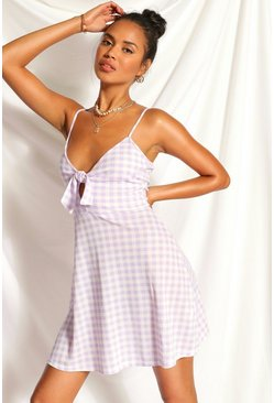 Lilac Gingham Knot Front Flippy Dress