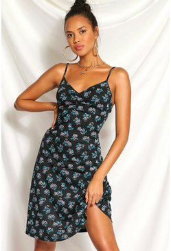 Black Ditsy Floral Ruched Bust Floaty Dress