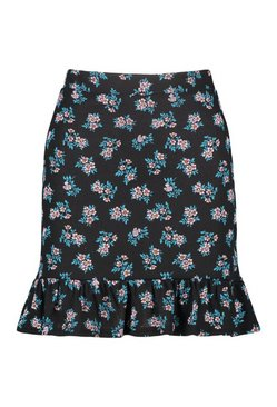Black Ditsy Floral Drop Hem Floaty Skirt