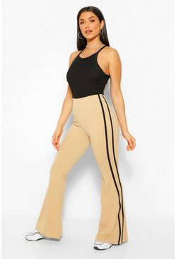 Stone beige Flared Pants With Sport Stripe