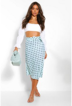 Mint Satin Polka Dot Pleated Midi Skirt