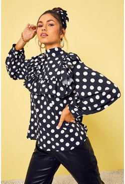 Black Polka Dot Frill Detail High Neck Top