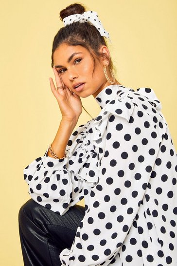 White Polka Dot Frill Detail High Neck Top