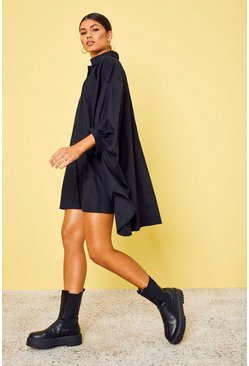 Black Oversized Batwing Sleeve Shirt Dress