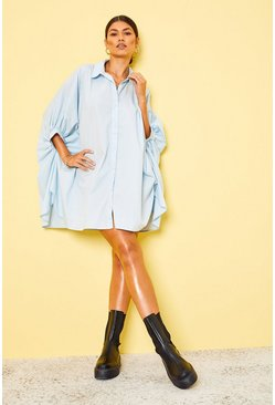 Blue Oversized Batwing Sleeve Shirt Dress