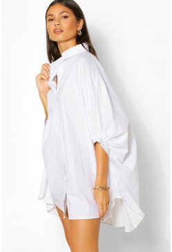 White Oversized Batwing Sleeve Shirt Dress