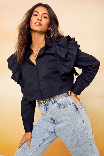Black Frill Sleeve Crop Shirt