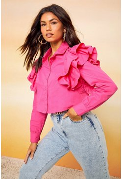 Hot pink pink Frill Sleeve Crop Shirt