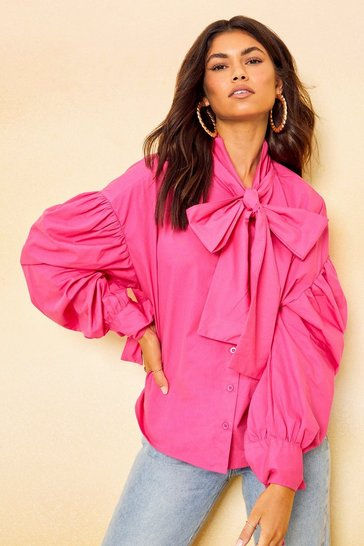 Hot pink pink Pink Cotton Drop Shoulder Pussybow Shirt