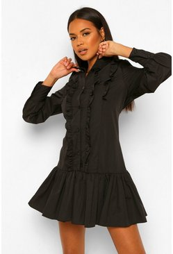 Black Cotton Frill Detail Shirt Dress