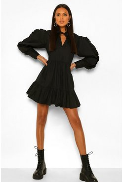 Black Cotton Ruffle Sleeve Tiered Smock Dress