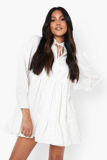 White Cotton Ruffle Sleeve Tiered Smock Dress