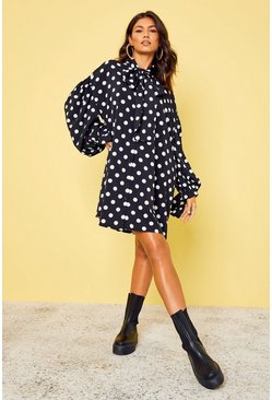 Black Polka Dot Oversized Shoulder Pussybow Shirt Dress