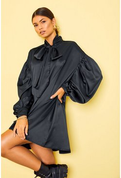 Black Satin Oversized Shoulder Pussybow Shirt Dress