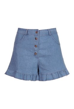 Blue Stretch Denim Ruffle Hotpants