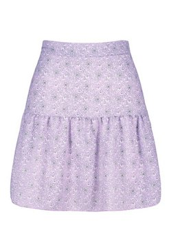 Lilac Paisley Print Drop Hem Mini Skirt