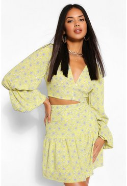 Yellow Paisley Print Drop Hem Mini Skirt