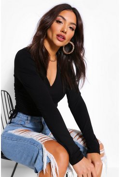 Black Plunge V Neck Ruched Side Long Sleeved Top