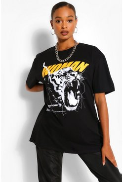 Black WOMAN TIGER PRINT OVERSIZED  TSHIRT