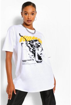 White WOMAN TIGER PRINT OVERSIZED  TSHIRT