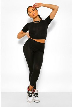 Black Geribbelde Bandage Crop Top En Leggings Set