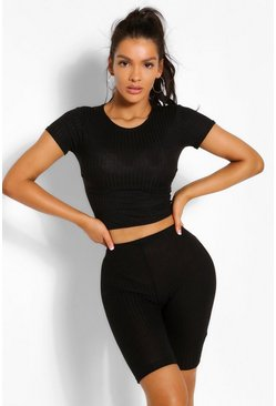 Black Bandage Rib Cap Sleeve top and Cycling shorts set