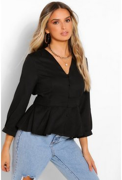 Black Woven Button Down Tie Peplim Blouse