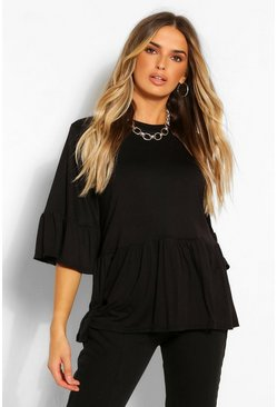 Black FRILL SLEEVE PEPLUM TOP