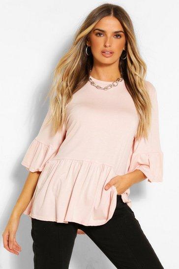 Blush pink Nude Frill Sleeve Peplum Top