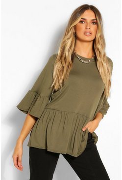 Light khaki FRILL SLEEVE PEPLUM TOP