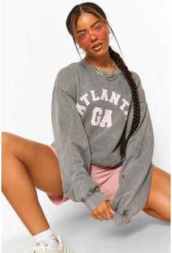 Charcoal grey ACID WASH OVERSIZED ATLANTA SWEATSHIRT