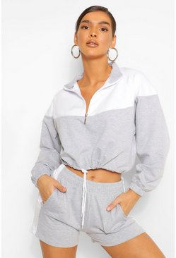 Grey Colour Block Zip Sweatshirt & Shorts Set