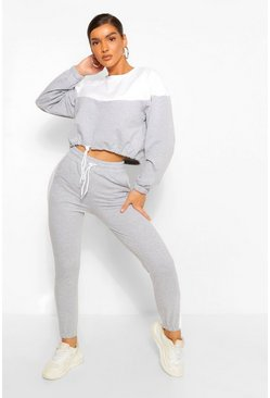 Grey Colour Block Sweat And Joggers Set