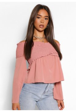 Mauve Woven off the shoulder shirred top