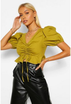 Khaki Woven puff sleeve ruched crop top