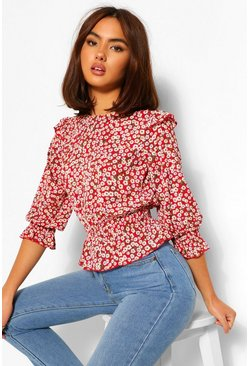Rood red Geweven Bloemenprint Blouse Met Ruches