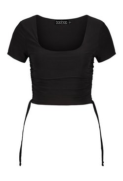 Black Ruched side square neck crop top